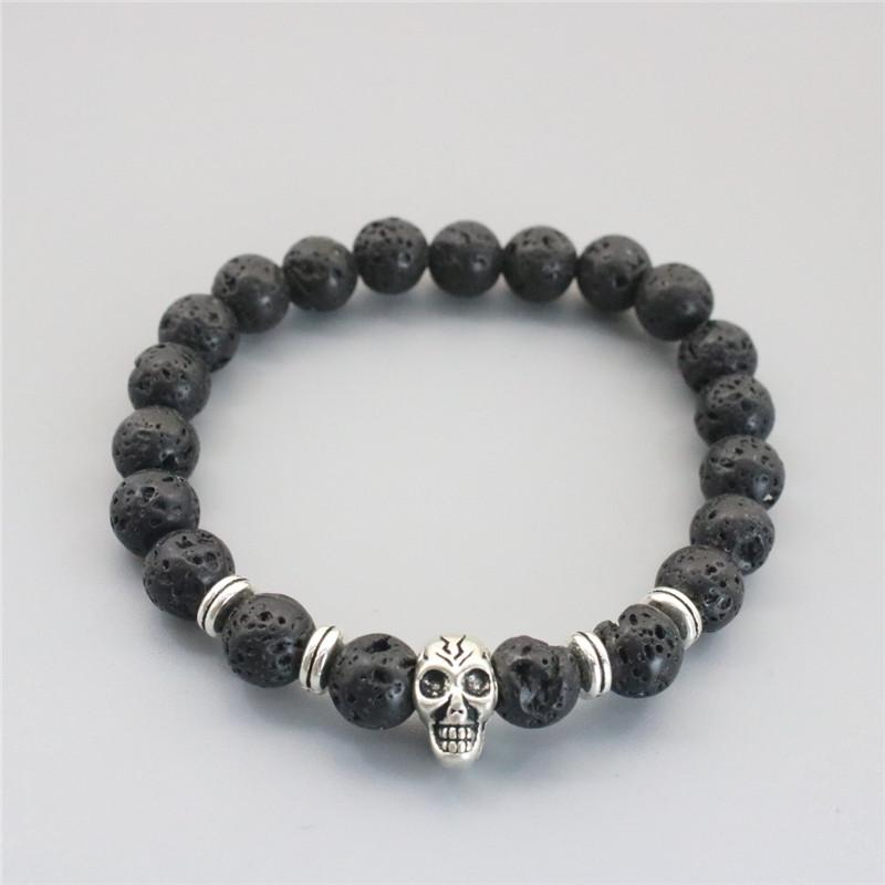 8mm Lava Rock Skull Bracelets & Bracelet Gold Silver Plated Bangles For Men & Women Skull Bracelet Gift
