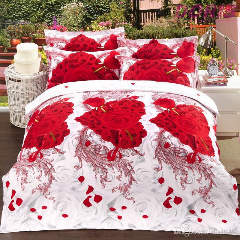 Wholesale Luxury 3d oil painting cheap bedding set queen size Cotton comforter /duvet covers bed sheet bedclothes set
