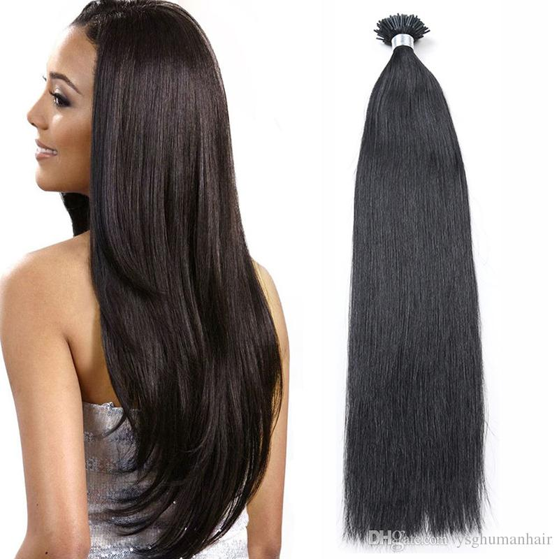 Remy I Stick Tip Glue Remy Human Hair Extensions Natural Color