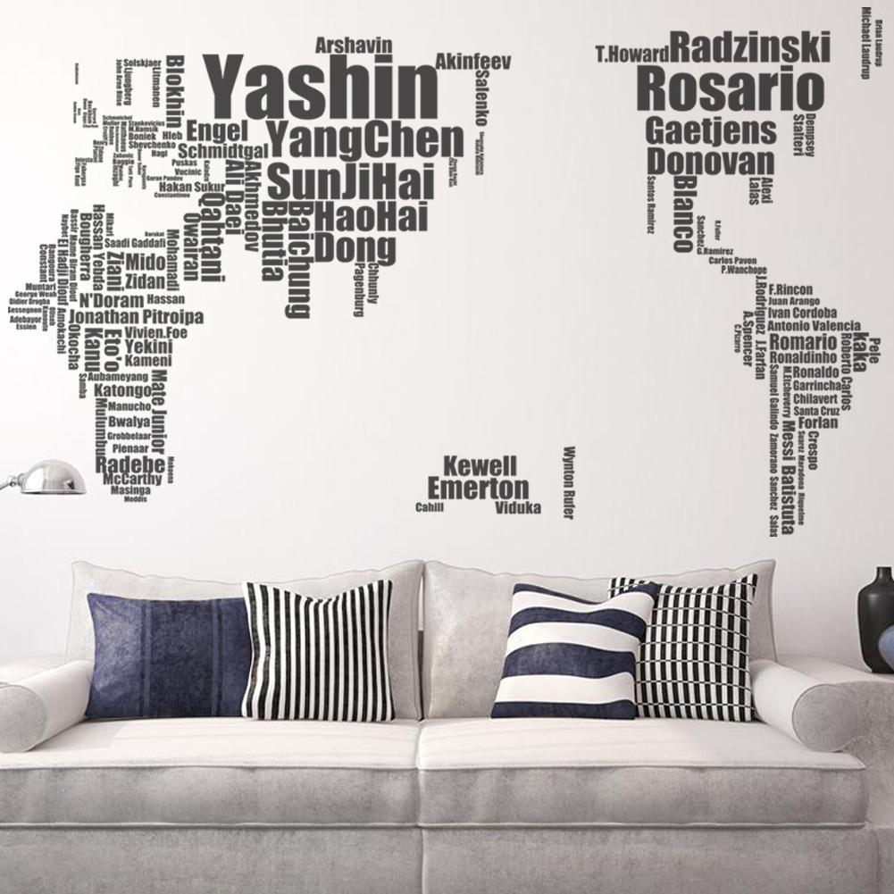 Football Star Name Wall Stickers Large World Map Map Wall Art ...