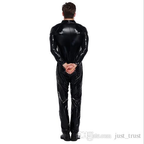 Sıcak DS cosplay clubwear Biker Kıyafet PU deri artı boyutu Bodysuit seksi set erkek Deri Koşum Eşcinsel Üniforma Cadılar Bayramı Kostümleri Cosplay