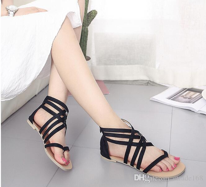 3869ef51c2ca Sexy Women Sandals Fashion Gladiator Flat Sandals Women Summer Shoes Woman  Slip on Best Quality Black Gray Dress Shoes Online with  27.55 Piece on ...