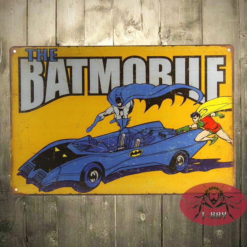 The BatMan Batmobile Retro Metal Poster TIN SIGN DC Comics Superhero ...