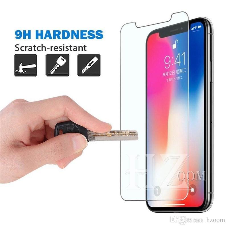 Película de protector de pantalla de vidrio templado 2.5D 9H para iphone XR XS MAX X 8 7 plus 6s Samsung A6 A8 A9 J4 J6 J8 2018 Huawei P20 pro