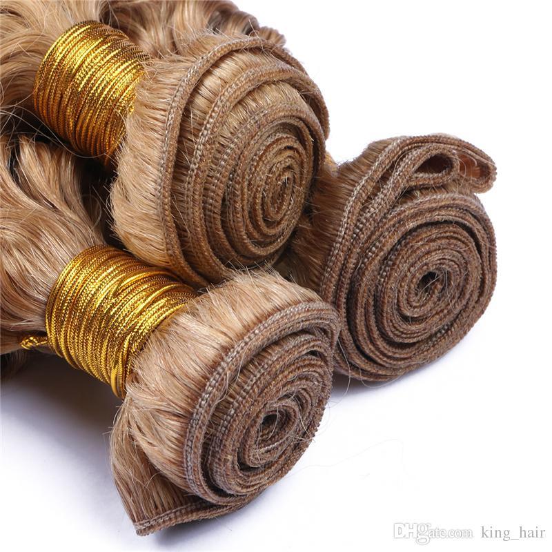 Бразильский 9А человеческих волос глубокая волна пучки волос чистый цвет мед блондинка #27 волос ткет глубокие вьющиеся ткать наращивание волос Для женщины