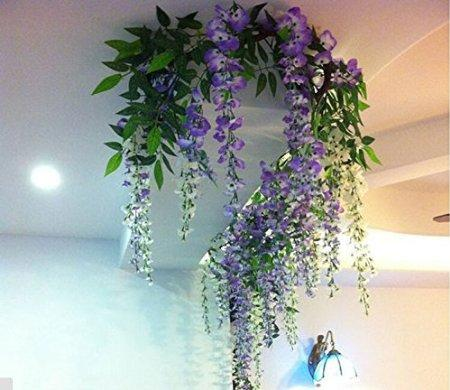 Artificial Wisteria Romantic Silk Flowers Living Room Hanging Flower Plant Vine Home Party Wedding Simulation Decor