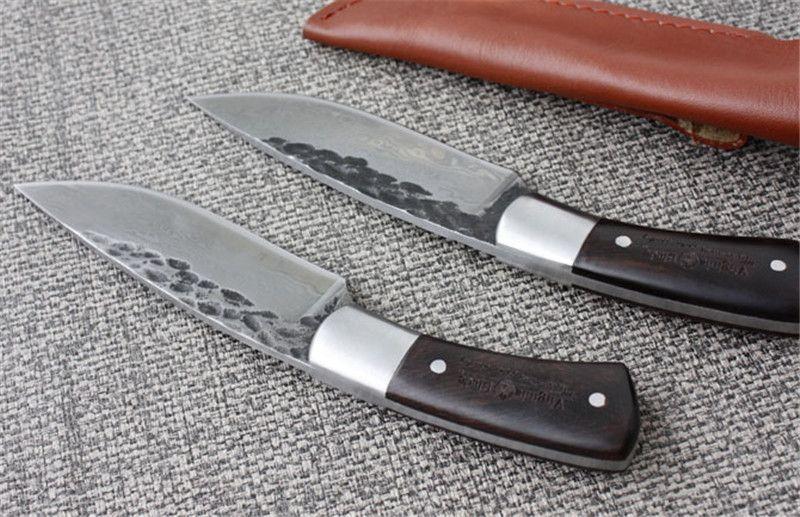 Handgefertigte gerade Messer geschmiedet Damaskus Stahl Muster Jagdmesser feststehende Messer 58HRC Ebenholz Griff Camping Survival Werkzeuge