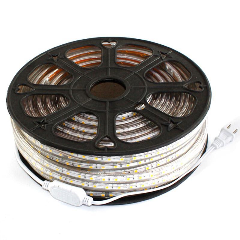 Luz de tira LED impermeable 50M 110V 220V CA SMD5050 60LEDs / M sin fuente de alimentación Cuttable a 1 metro