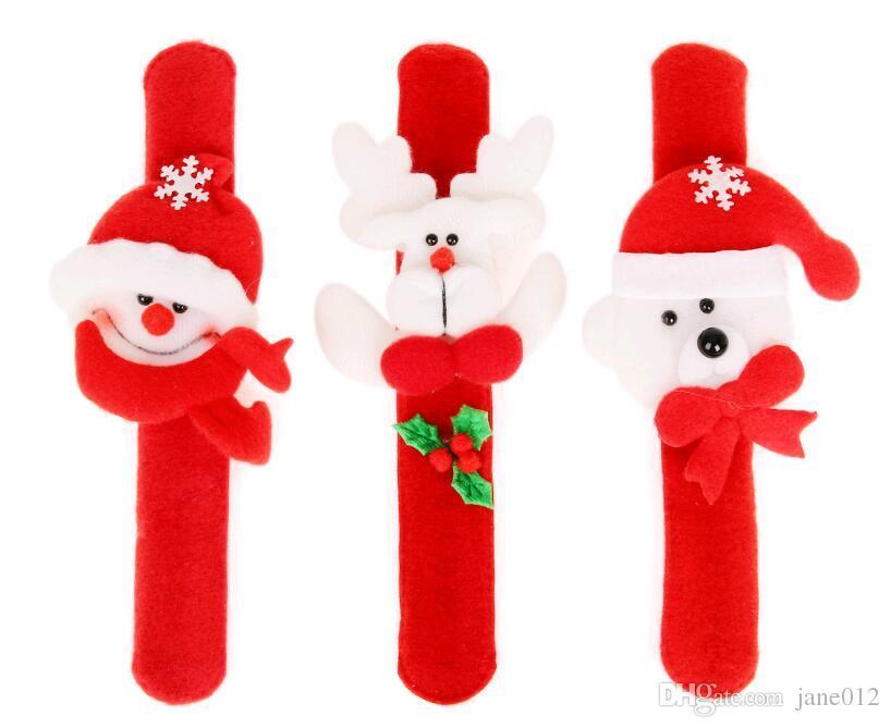 Papai Noel Boneco de Neve Brinquedos slap pat círculo Pulseira Pulseira de Natal Pano Decoração Ornamentos para o presente de Natal Xmas Venda Quente