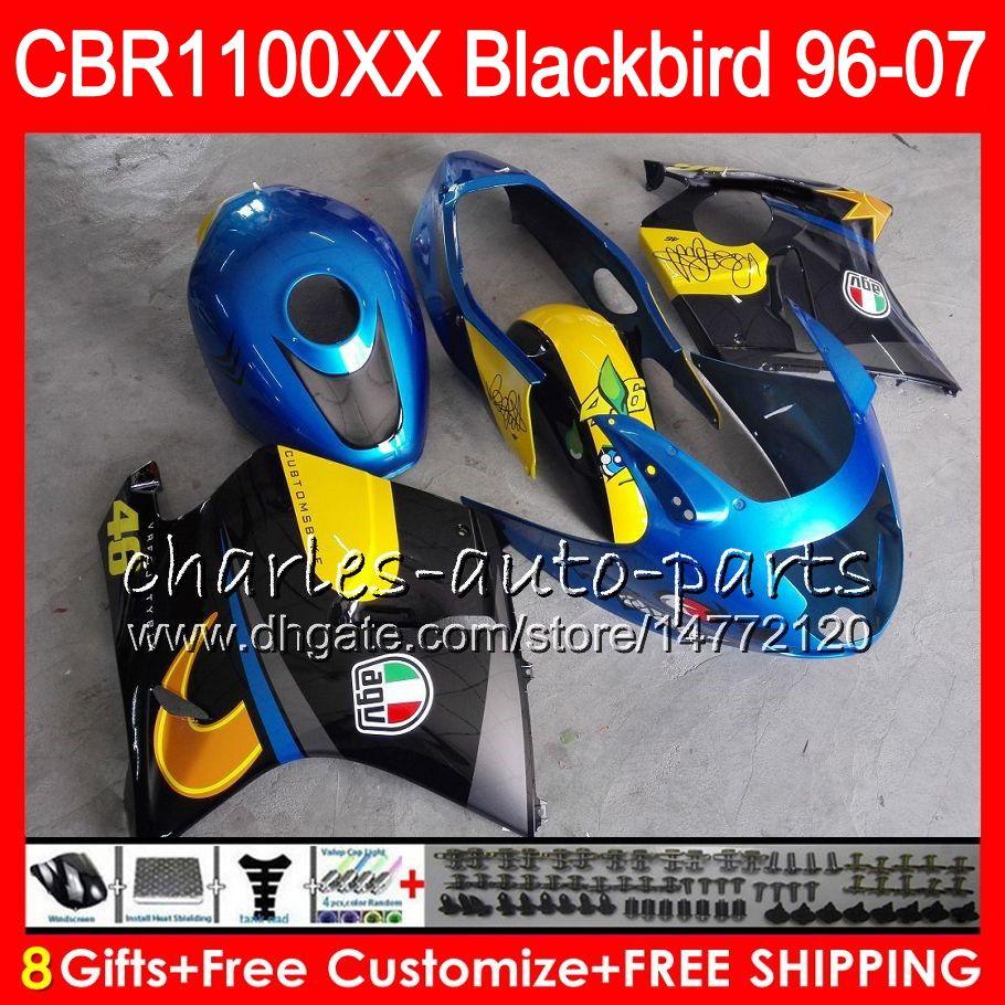 Cuerpo para HONDA Blackbird Graffiti azul CBR1100 XX CBR1100XX 96 97 98 99 00 01 81HM5 CBR 1100 XX 1100XX 1996 1997 1998 1999 2000 2001 Carenado