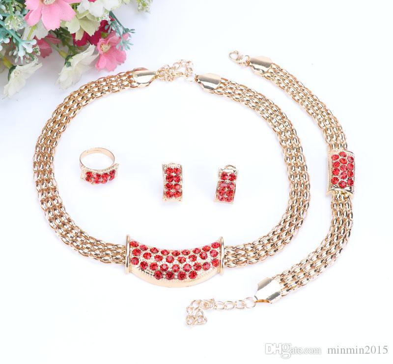 Jóias africanas Moda Feminina 18 K Ouro / Banhado A Prata Colar de Cristal Anel Brinco Pulseira Conjuntos de Jóias de Casamento 6 cores