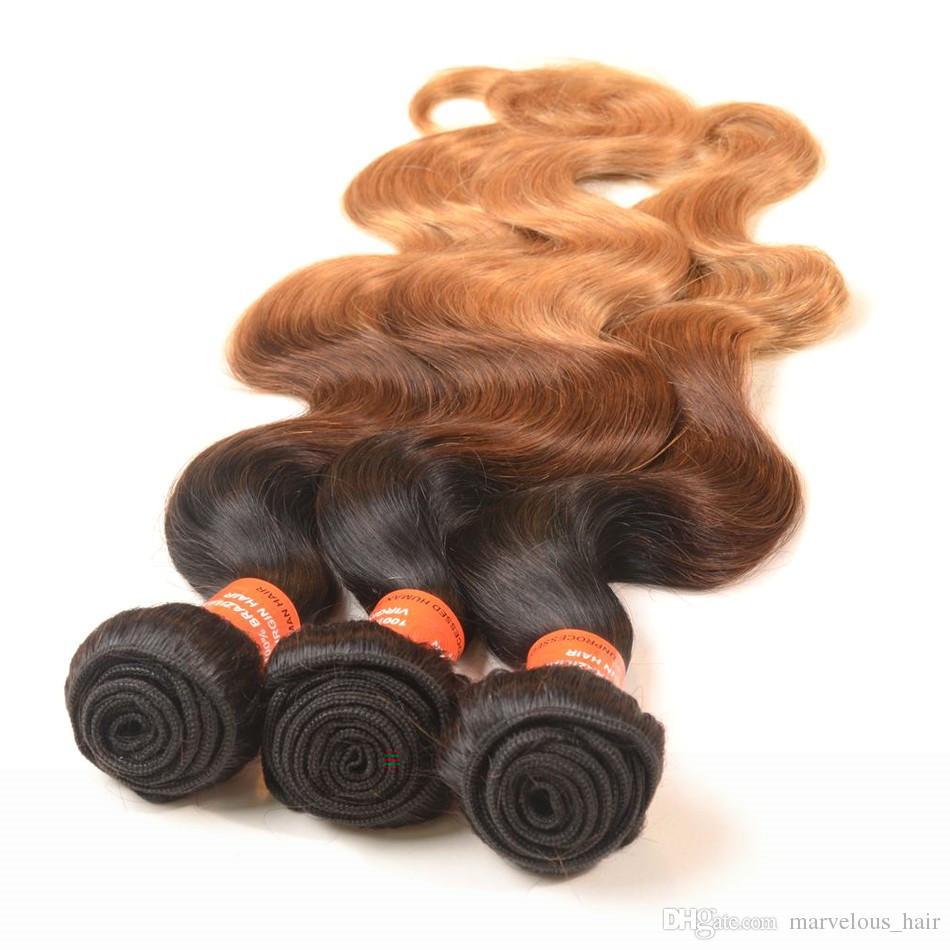 Indian Human Hair Body Weave 3 Bundle Deals Unprocessed Ombre Human