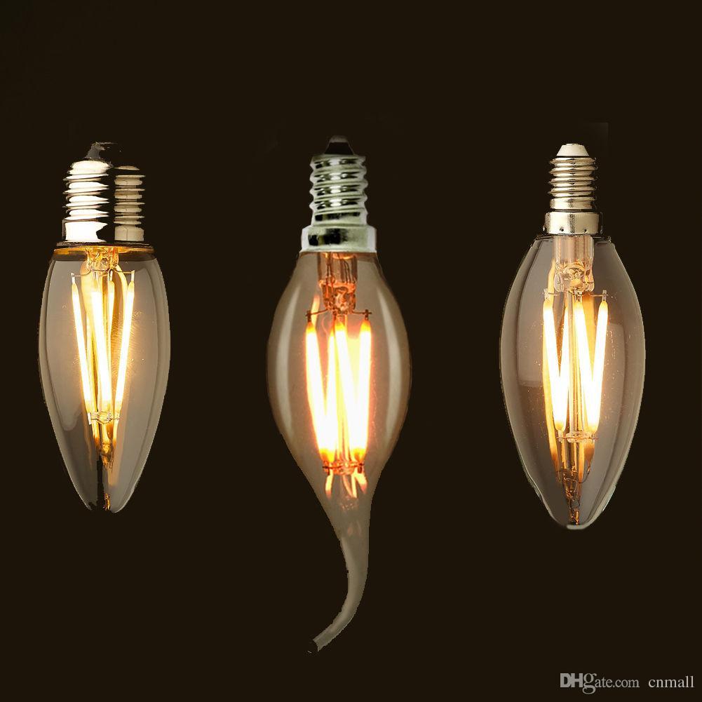 E12 E14 E26 Dimmable 2 4 6w Vintage Led Filament Candelabra Bulbs 110lm W 2700k 110v 220v C35 Bullet Top C35t Bent Tip Light Lights