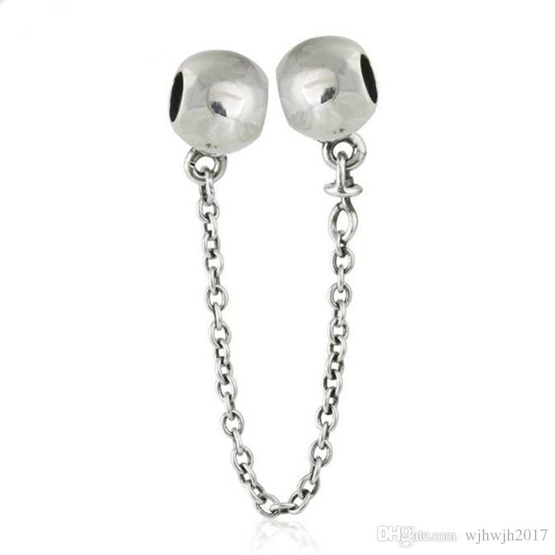 Original 925-sterling-silver Runde Ball Sicherheitskette Charm Perlen Für Schmuck Machen Fit Marke Armband DIY Zubehör