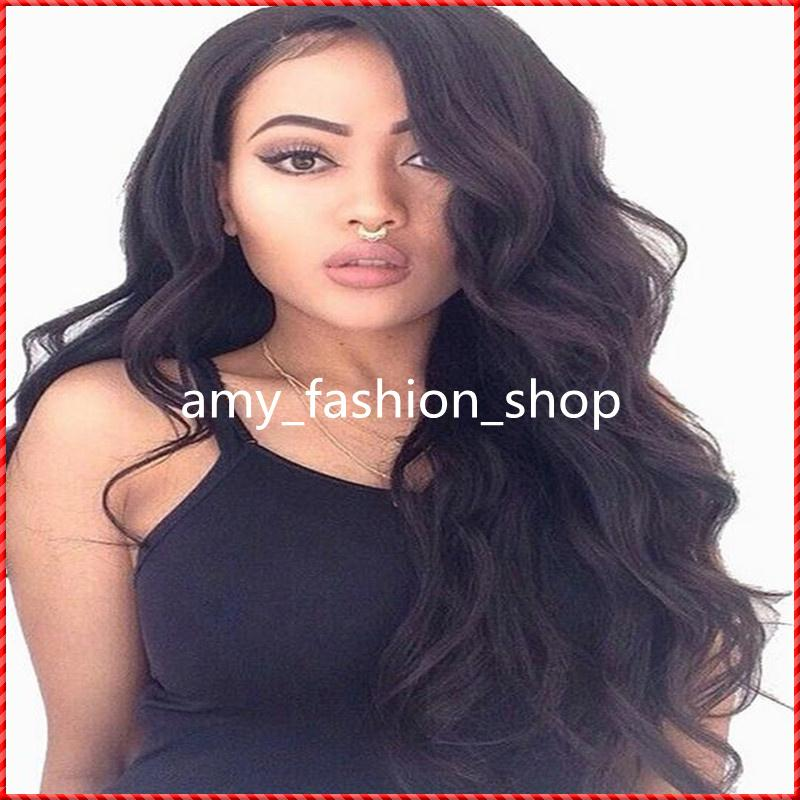 Natural Black Color Wavy Lace Front Wig / Glueless Full Lace Wig 100% Brazilian Virgin Human Hair Wig In Stock