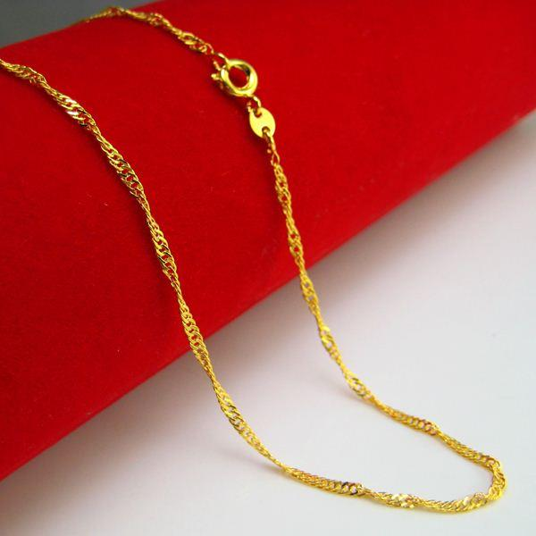For a long time does not fade gold necklace female fashion gold jewelry chain short wave simulation models of fine chain clavicle water ripp