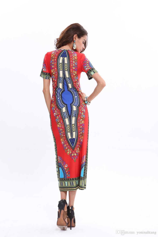 Wholesale Short Sleeve Summer African Pattern Women's Bohemian Long Ice Silk Beach Dresses plus size 3XL