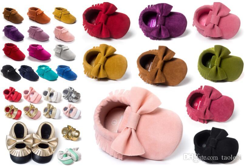 a4e56cdc50d97 2019 Baby Soft PU Leather Tassel Moccasins Walker Shoes Baby Toddler Bow  Fringe Tassel Shoes Moccasin Stock Choose Freely From Taolebi