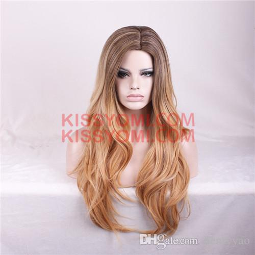 Cheap Long Wig Kinky Body Wave Synthetic Hair Middle Brown Ombre Auburn Wigs for Women Synthetic Wig