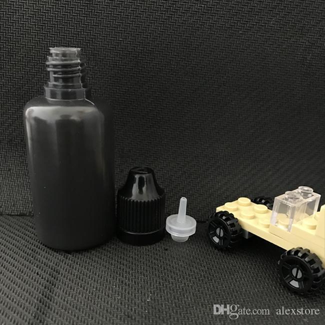 30ml cor preta E líquido garrafa vazia 30 ml PE plástico macio agulha gotejador garrafas com pontas de Slim longo para Vape DHL