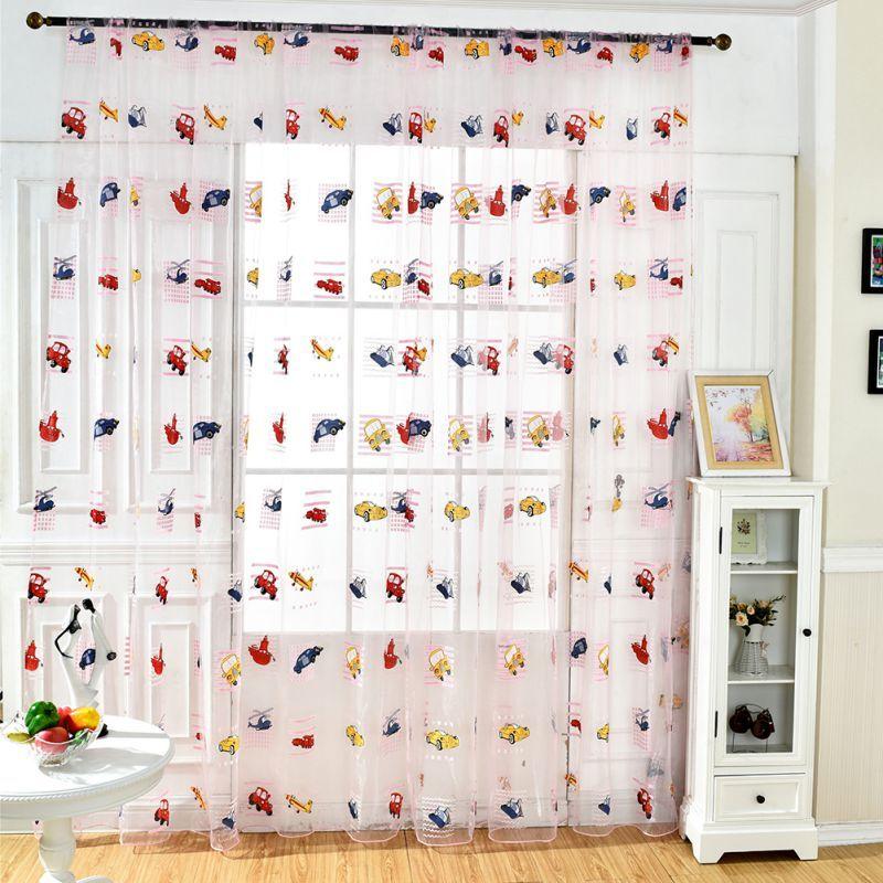 자동차 인쇄 드레이프 패널 깎아 지른 스카프 Valance Voile Door Room 주방 거실 용 창 커튼 키즈 커튼 Blackout Sheer Curtains