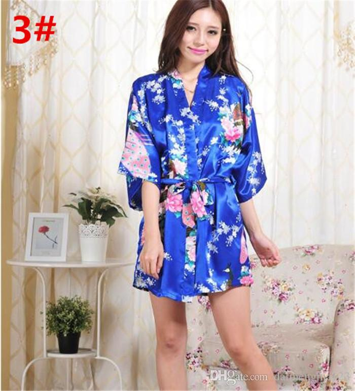 14 Farben S-XXL Sexy Frauen japanische Seide Kimono Robe Pyjamas Nachthemd Nachtwäsche Broken Flower Kimono Unterwäsche D713