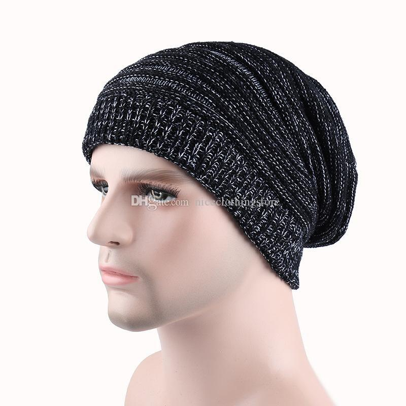 2017 newsest Winter Warm Casual Knit Hats For Men Baggy Beanie Hat Crochet Slouchy Oversized Ski Cap