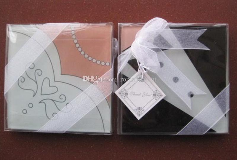 Bride Gown & Groom Tuxedo Creative Square Glass Coasters Cup Mat for Wedding Favors DHL