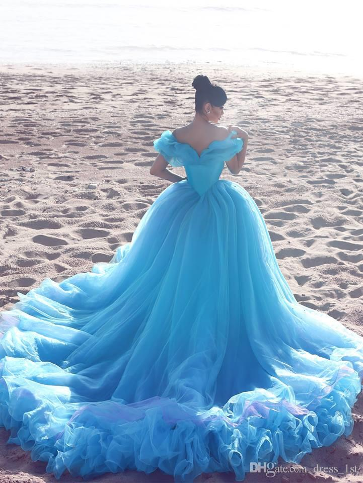 2020 Modern Light Blue Quinceanera Dresses Ball Gown Off The Shoulder Puffy A Line Skirt Crystal Pearls Cinderella Dresses