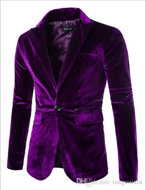 Toptan ücretsiz kargo Erkek blazer slim fit takım elbise ceket siyah lacivert kadife bahar sonbahar giyim ceket Erkekler Için Ücretsiz kargo Suits