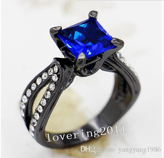 Wholesale - Size5/6/7/8/9/10 Vintage Lovers Jewelry 10KT Black Gold Filled sapphire Gem women lady&039;s Wedding Engagement Ring for love gi