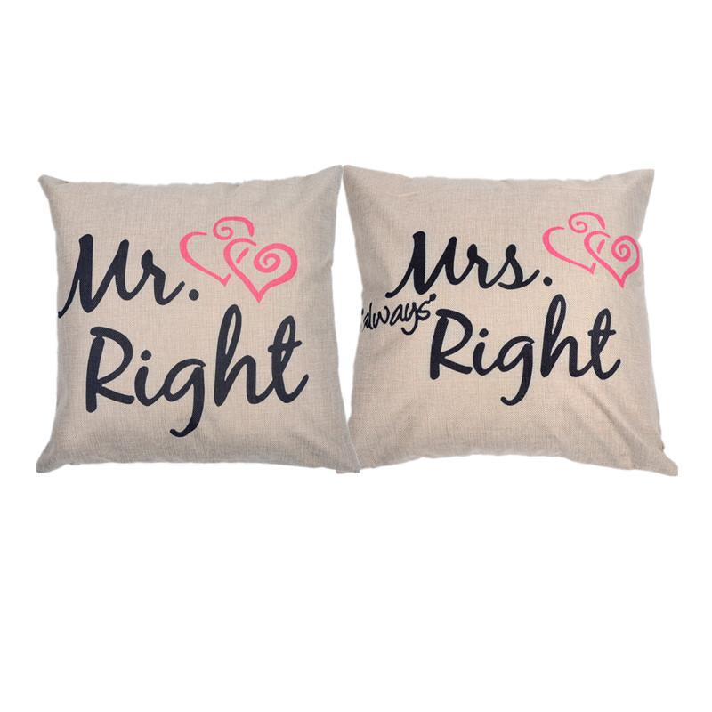 a223aa575b14 18X 18 Mr Right   Mrs Always Right Heart Print Cotton Linen Throw Pillow  Cover Set Cushion Case Pillow Case Set For Sale Replacement Cushions  Outdoor ...