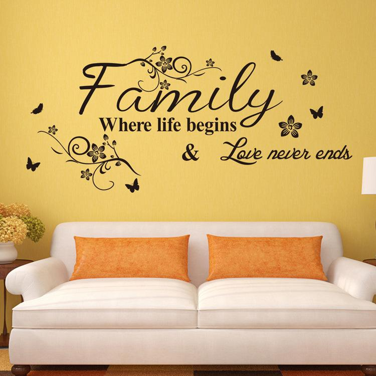 Family Love Never Ends Quote Vinyl Wall Decal Wall Lettering Art Words Wall Sticker Home Decor Wedding Decoration