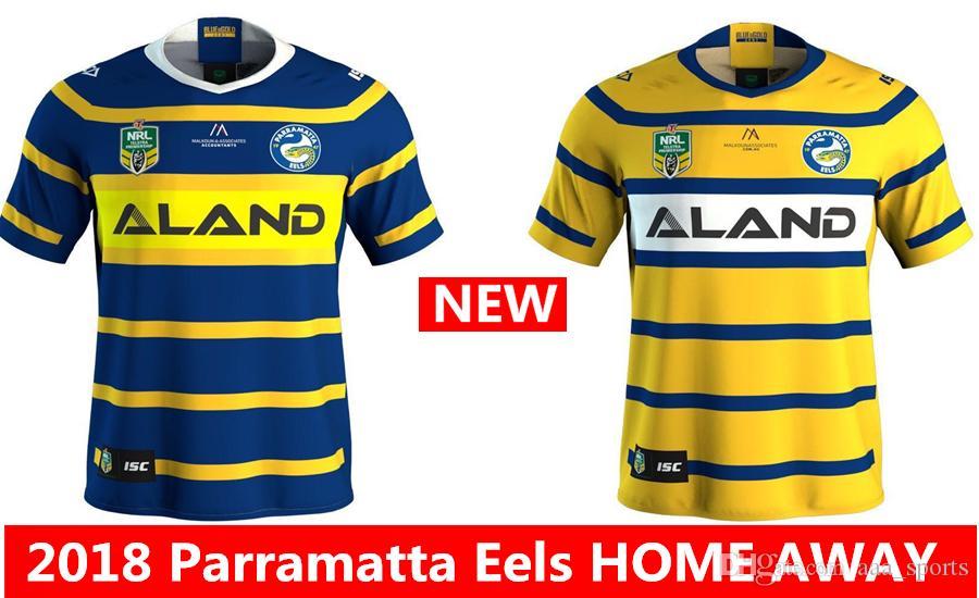 a6b13d8574 Compre Hot Vendas Parramatta Eels 2018 2019 Longe De Casa De Rugby Jerseys  Nrl Nacional Rugby League Camisa De Rugby Camisa Nrl Parramatta Eels Camisas  S ...
