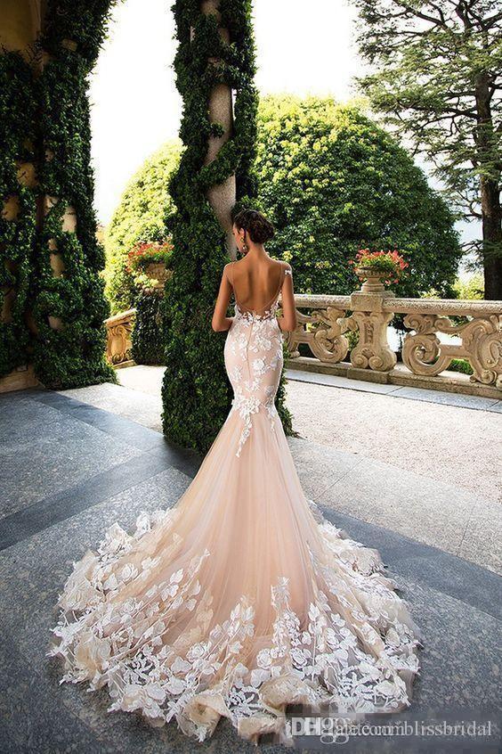 Milla Nova 2017 Cap Sleeve Mermaid Wedding Dresses Sheer Neck Lace Appliques Illusion Bodices Bridal Gowns Wedding Gowns Vestios De Novia