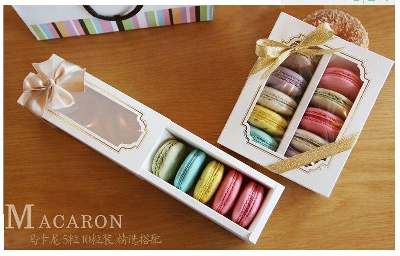 15.7 * 6.8 * 5.2см Белое окно Macaron Boxe Cake Box Шоколадная коробка 100Писелота Бесплатная Доставка по экспресс