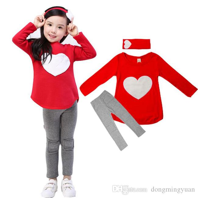 Christmas Love Heart Set Clothing For Baby Girl 3 Piece Suit Costume Spring Autumn Christmas Kid Children Cotton T Shirt+Trouser+Headbands