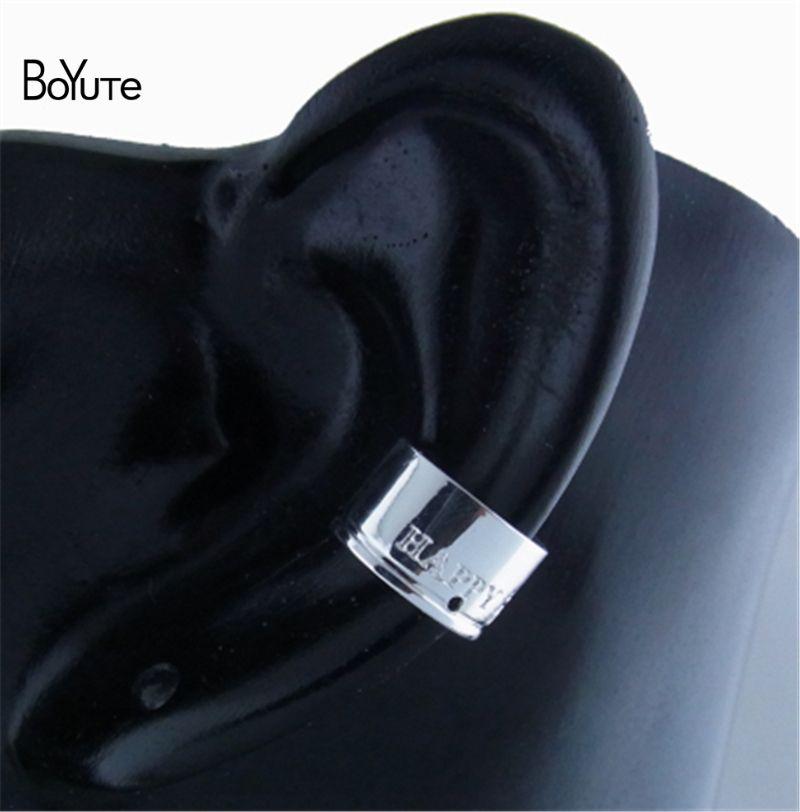 BoYuTe  11*7MM Happy Clover Ear Cuff Clip, Fashion Ear Cuff Earrings with 1MM Hole