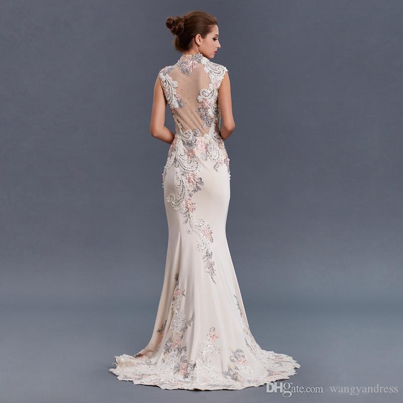 2017 agraciada alta calidad larga sirena vestido de noche de cuello alto apliques con cuentas barrido tren vestido de fiesta vestido de ocasión especial