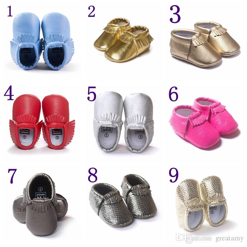 Tassels 19-Color PU Leather Baby Shoes 2016 Moccasin Newborn Shoes Soft Infants Crib Shoes Sneakers First Walker