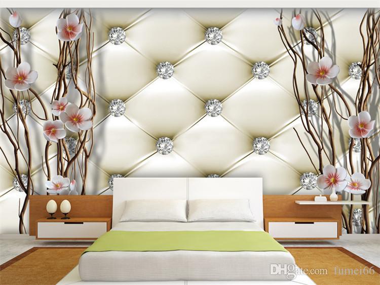 Ramos Papel de parede do Mural 3D em relevo diamante ameixa pintura de parede de Fundo Arte Suave Package Sala TV Home Decor Paper