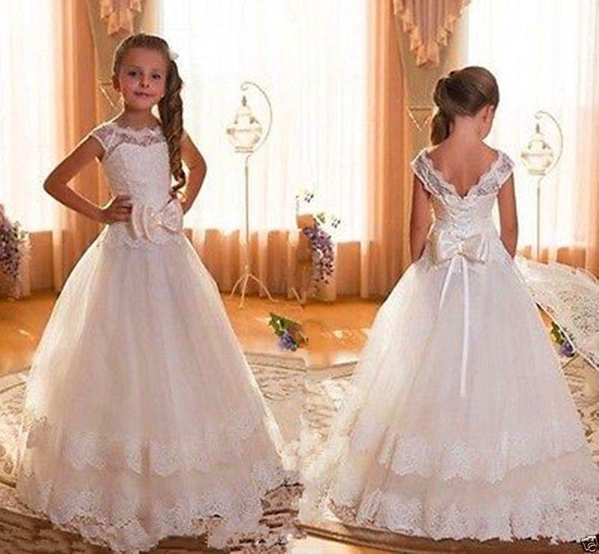 New Flower Girls Ivory Dress First Communion Wedding Pageant Easter Formal 341