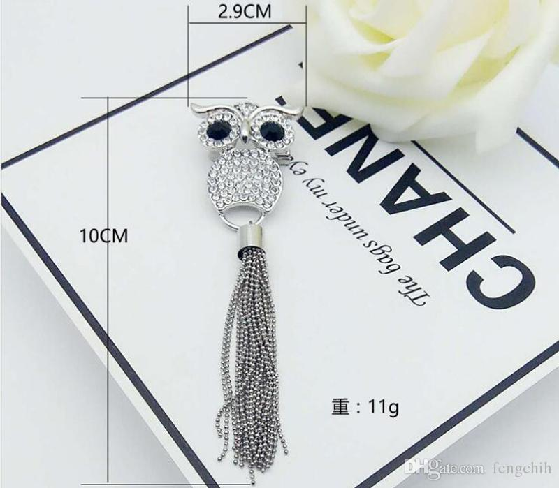 Europe and the United States hot bursts of creative owl long tassel brooch the whole face set diamond fashion corsage wholesale