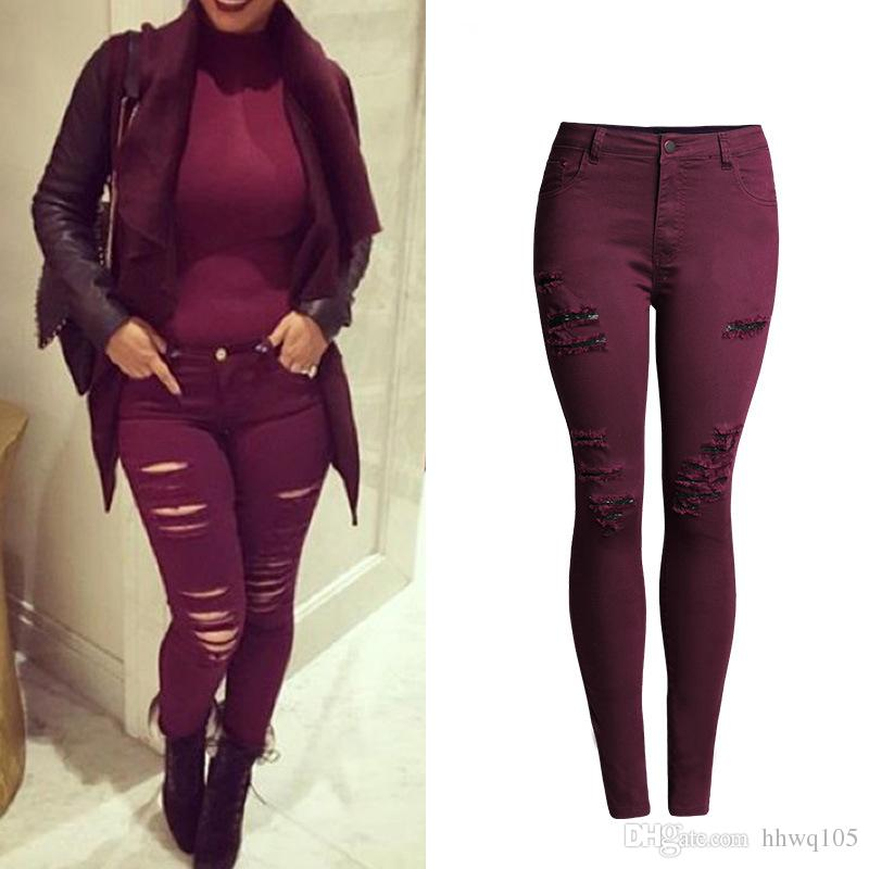 2cf923bdd62e2 2019 Women Burgundy Ripped Jeans Sexy Skinny Stretchy Denim Jeans Spring  Autumn Casual Pencil Pants Trousers Plus Size S 4XL BSF0354 From Hhwq105