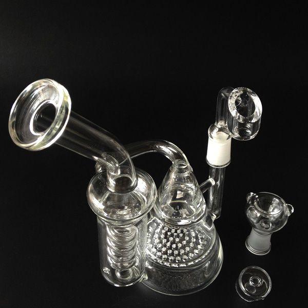 Vetro tubi riciclatore bong vetro e nido d'ape perc due funzioni tubi di acqua di vetro con 14.5mm femminili piattaforme petrolifere ciotola galss bong