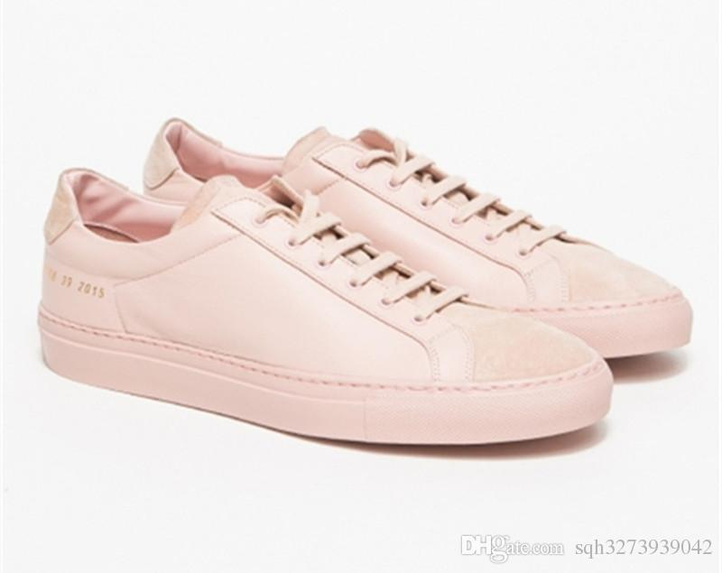 Original Women By Common Projects Low Shoes Men Woman Genuine Leather  Sheepskin Pink Casual Shoes Chaussure Femme Homme Scarpe Dansko Shoes  Indoor Soccer ...
