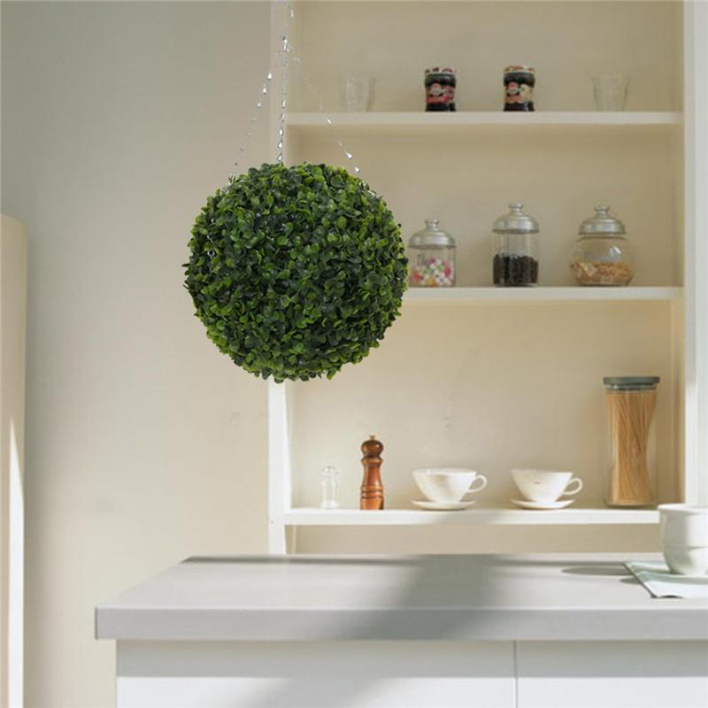 Hot Sale removable 35cm Plastic Topiary Leaf Effect grass Ball trees Hanging Indoor and Outdoor decoration