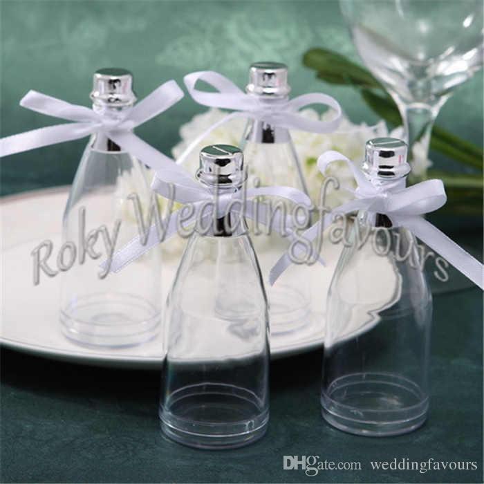 Plastic Champagne Bottle Favors Holder Bridal Shower Birthday Party Supplies Wedding Souvenir Candy Package Box