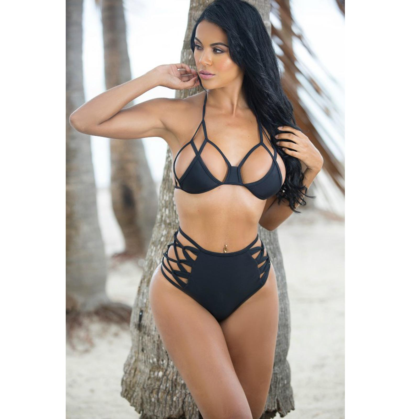 548f71facf01a 2016 Sexy Cheap Strappy Bandage High Waisted Bikini Bottom Hollow-out Black  Halter String Bathing