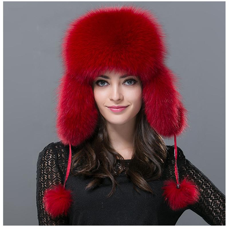 ce42f208fcf 2019 Wholesale Women Real Fox Fur Hat Winter Russian Warm Fox Fur Leifeng  Hat Genuine Bomber Solid Warm Ear Solid Whole Raccoon Fur Hats H 25 From  Naixing